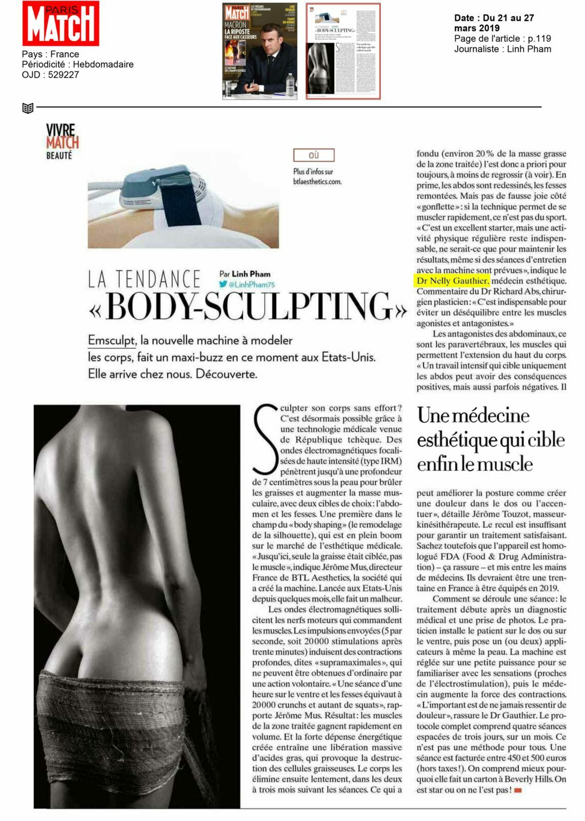 Tendance du Body Sculpting à Paris - Interview Paris Match | Dr Gauthier